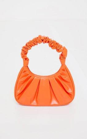 Orange Ruched Handle Shoulder Bag | PrettyLittleThing USA