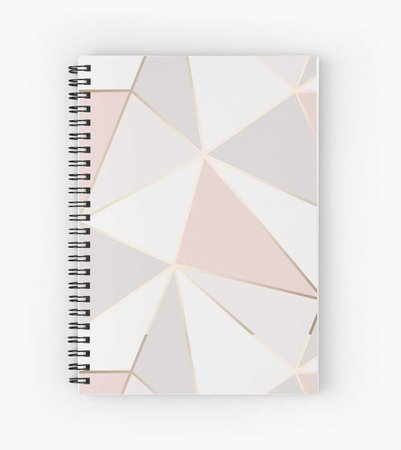 """Geometric pink gold"" Spiral Notebooks by Elyse-blais 