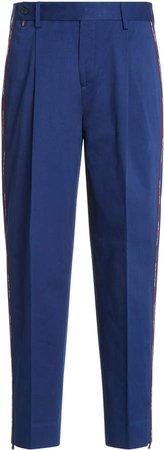 Stripe-Detailed Pleated Cotton Gabardine Trousers