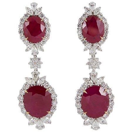 Burma Ruby Diamond Platinum Drop Earrings For Sale at 1stdibs