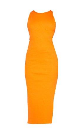 Bright Orange Cup Detail Racer Split Midi Dress | PrettyLittleThing USA