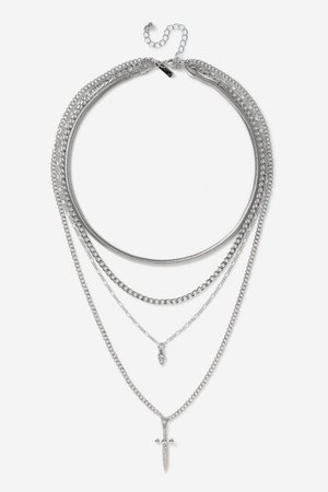 **Silver Dagger and Skull Multirow Necklace | Topshop