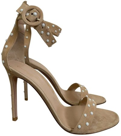 Portofino Beige Suede Sandals