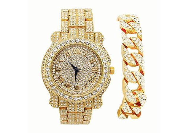 Amazon.com: Bling-ed Out Round Luxury Mens Watch w/Bling-ed Out Cuban Bracelet - L0504B - Cuban Gold: Charles Raymond: Watches