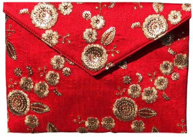 Simitri - Floral Red Envelope Clutch