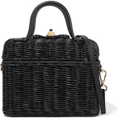 Perle Leather-trimmed Wicker Shoulder Bag - Black