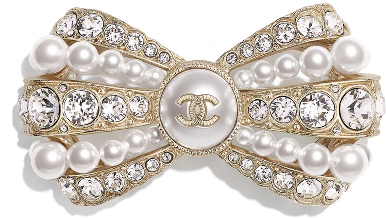 Brooch, metal, glass pearls, artificial pearls and strass, gold, mother of pearl white and glass - CHANEL