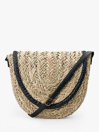 hush Palma Woven Straw Cross Body Bag, Neutral/Black at John Lewis & Partners