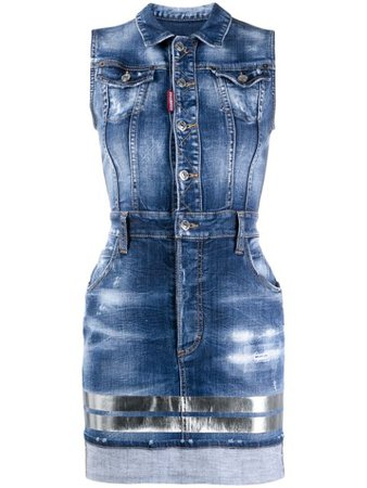 Shop blue Dsquared2 sleeveless denim dress with Express Delivery - Farfetch