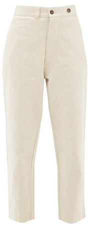Buttoned Straight Leg Jeans - Womens - Beige