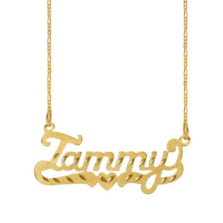 Jay Aimee Designs - Personalized Diamond Cut Nameplate Necklace - Walmart.com - Walmart.com gold