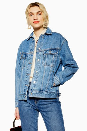 Blue Oversized Denim Jacket | Topshop