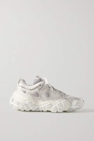 Bolzter Faux Suede And Mesh Sneakers - White