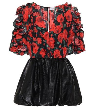 MAGDA BUTRYM Lleida floral silk and leather dress