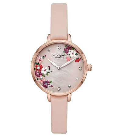 kate spade new york Metro Two-Hand Floral Motif Blush Leather Watch   Dillard's