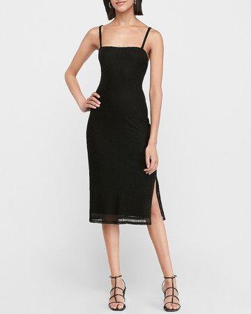 Square Neck Ribbed Midi Dress