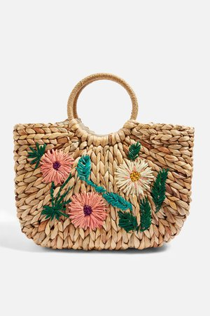 Floral Embroidered Straw Tote Bag