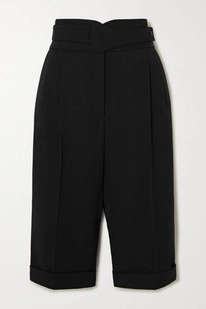 Pleated Wool-twill Shorts - Black