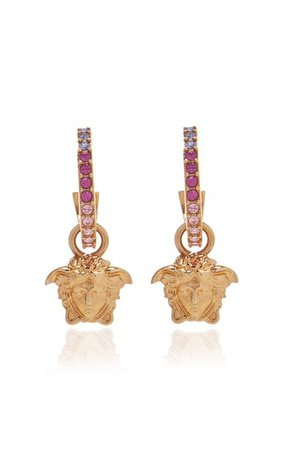 Medusa Ombré Crystal-Embellished Hoop Earrings By Versace | Moda Operandi