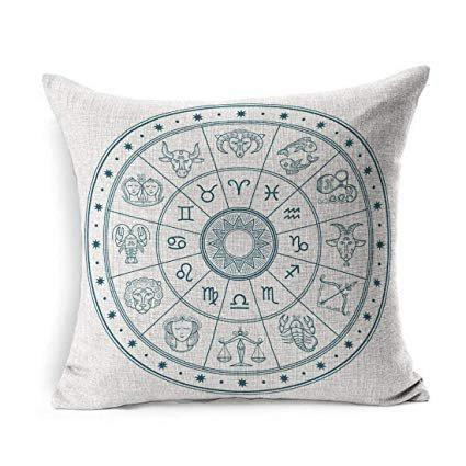 Ahawoso Linen Throw Pillow Cover Square 18x18 Line Lion Astrology Linear Horoscope Circle Zodiac Animals Wildlife Star Libra Scorpio Graphic Constellation Pillowcase Home Decor Cushion Pillow Case: Gateway