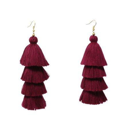 burgundy tassel earrings - Google Search