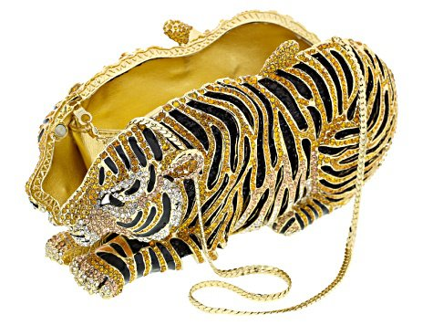 Multicolor Crystal White And Black Enamel Gold Tone Tiger Clutch With Chain - OPJ1071Y | JTV.com