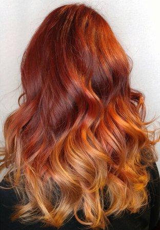 orange ginger ombre hair