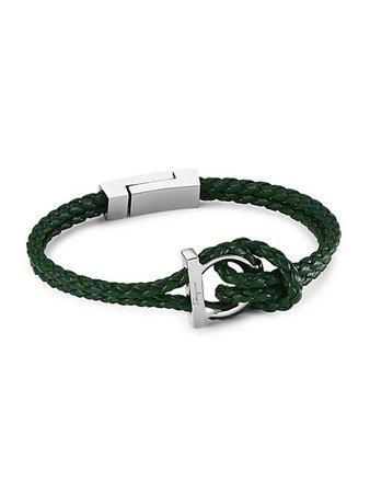 Salvatore Ferragamo Silvertone & Braided Leather Bracelet | SaksFifthAvenue