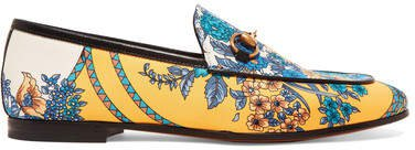 Jordaan Horsebit-detailed Leather-trimmed Printed Twill Loafers - Yellow
