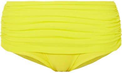 Bill Ruched Bikini Briefs - Bright yellow