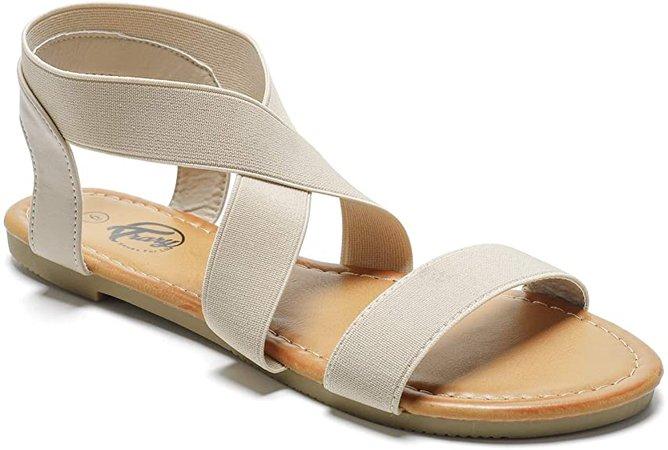 Amazon.com | Trary Flat Sandals - Open Toe Cute Elastic Sandals for Women Beige 095 | Flats