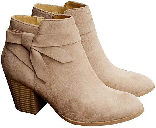 Amazon.com | PiePieBuy Women's Ankle Boots Tie Knot Closed Toe Side Zipper Stacked Heel Booties Shoes Beige | Ankle & Bootie