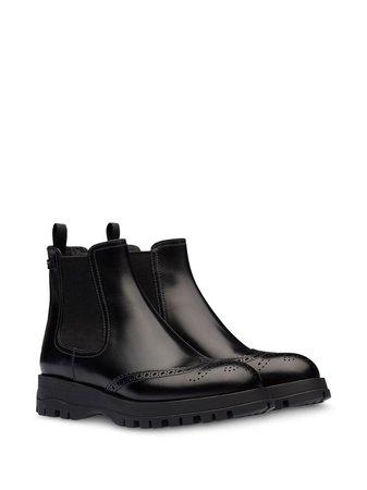 Prada Brogue Detailed Chelsea Boots 1T056LFA030B4L Black   Farfetch