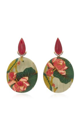 Marquetry Pink Flower Earrings by Silvia Furmanovich | Moda Operandi
