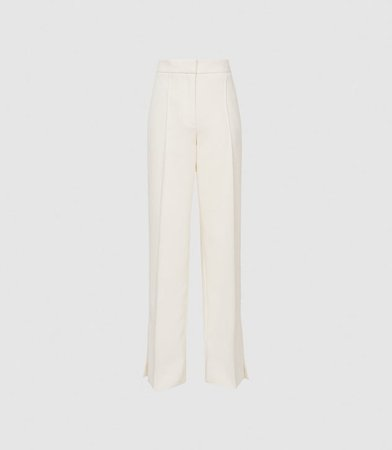 Leah White Wide Leg Tailored Trousers – REISS