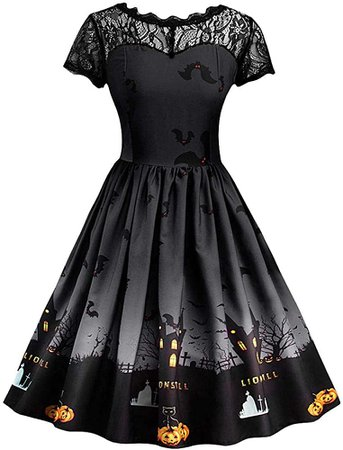 Vintage Print Dress Women's Long Sleeve Christmas Evening Party Swing Dress at Amazon Women's Clothing store