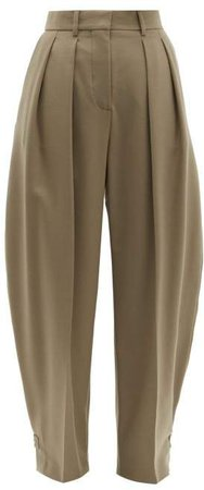 City High Rise Tailored Trousers - Womens - Beige