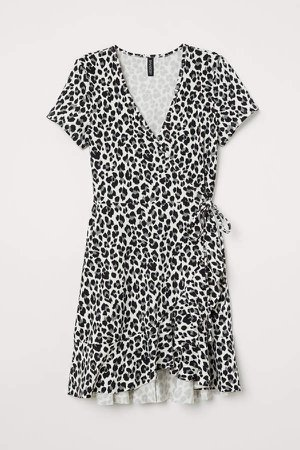 Ruffled Wrap Dress - White