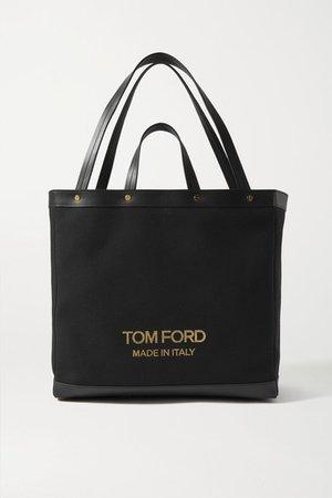 T Screw Shopper Medium Leather-trimmed Canvas Tote - Black