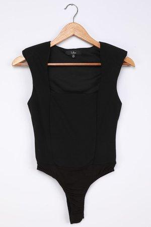 Black Bodysuit - Square Neck Bodysuit - Shoulder Pad Bodysuit - Lulus