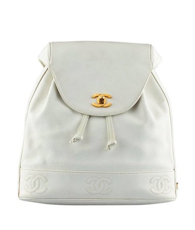 Chanel Vintage White Caviar Leather Backpack 130599   Etsy