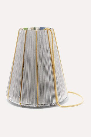 Vanina - Le Cannele Gold-plated And Woven Shoulder Bag - Silver