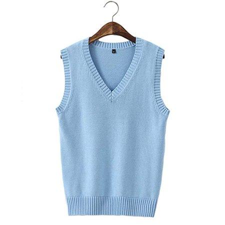 Amazon.com: Men Women Knitted Cotton V-Neck Vest JK Uniform Pullover Sleeveless Sweater School Cardigan: Clothing