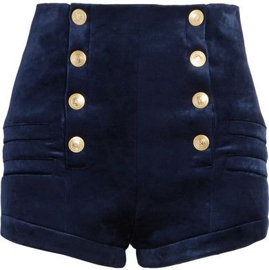 Pierre Balmain - Stretch-velvet Shorts - Navy