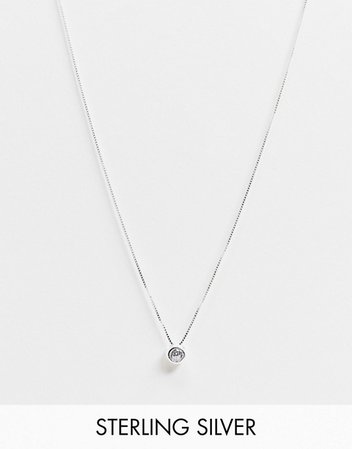 Kingsley Ryan necklace in sterling silver with clear stone pendant | ASOS