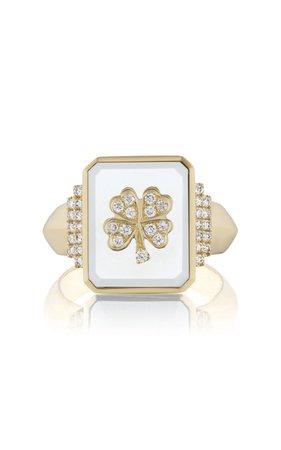 18k Yellow Gold Clover Signet Ring By Sorellina | Moda Operandi