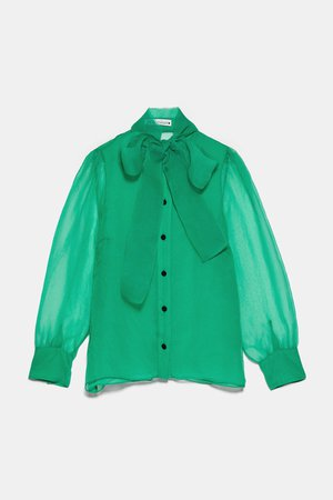 ORGANZA BLOUSE WITH TIE - JOIN LIFE-WOMAN-CORNERSHOPS   ZARA United States