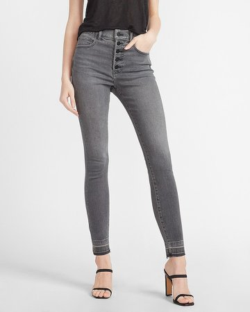 High Waisted Black Button Fly Skinny Jeans