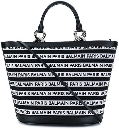 striped logo tote