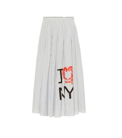 Striped cotton midi skirt